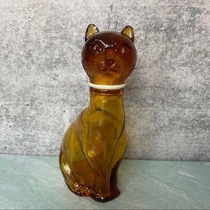 Vintage amber glass cat bottle Italian